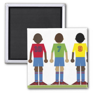 Digital illustration of five football players, 2 inch square magnet
