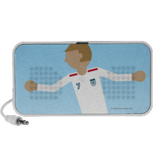 Digital illustration of football player wearing mini speaker