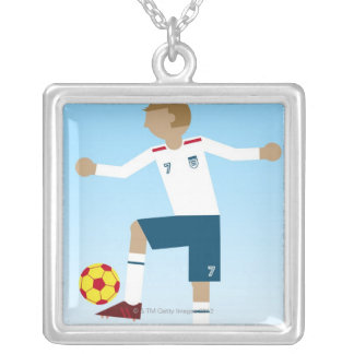 Digital illustration of football player wearing square pendant necklace