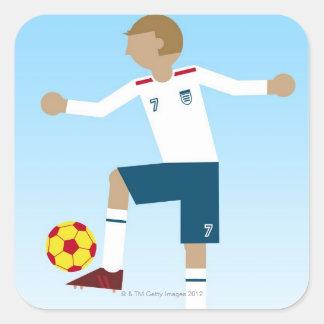 Digital illustration of football player wearing square sticker