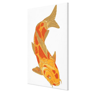 Digital illustration of Koi Carp Gallery Wrapped Canvas