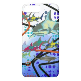 digital illustration of sharks iPhone 7 plus case
