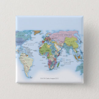 Digital illustration of the world in 1900 pinback button