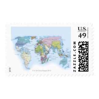 Digital illustration of the world in 1900 postage stamp
