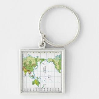 Digital illustration of world map showing time keychains