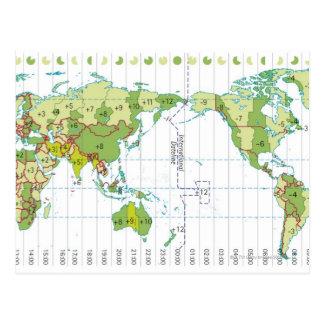Digital illustration of world map showing time postcard
