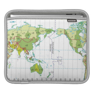 Digital illustration of world map showing time sleeve for iPads