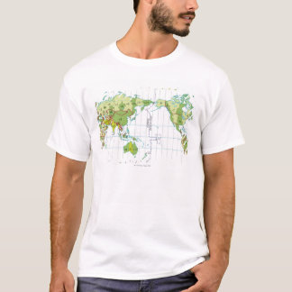 Digital illustration of world map showing time T-Shirt