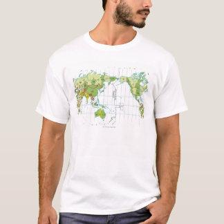 Digital illustration of world map showing time T-Shirt