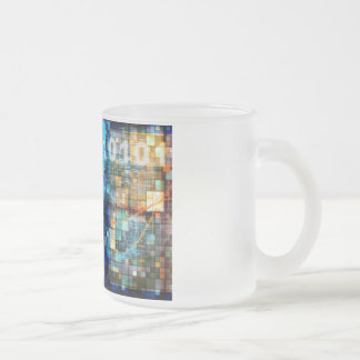 Digital Image Background Binary Code Technology Frosted Glass Coffee Mug