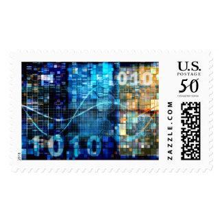 Digital Image Background Binary Code Technology Postage