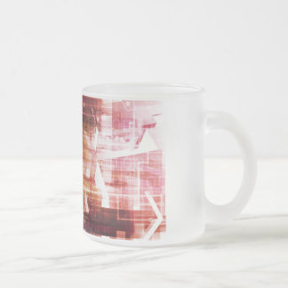 Digital Imagery with Data Network Transfer Art Frosted Glass Coffee Mug