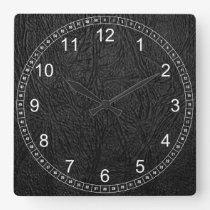 Digital Leather Square Wall Clock