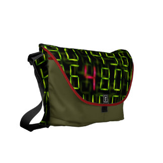 Digital numbers and electronic font messenger bag