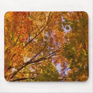 Digital Oil Painting : Autumn Leaves on Tree Mouse Pad