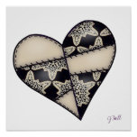 Digital Padded Patchwork - Heart-001 Poster