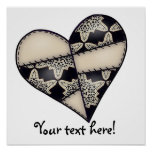 Digital Padded Patchwork - Heart-001 Posters