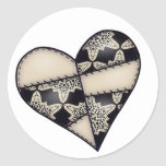 Digital Padded Patchwork - Heart-001 Round Stickers