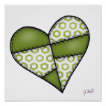 Digital Padded Patchwork - Heart-002 Poster