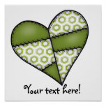 Digital Padded Patchwork - Heart-002 Posters