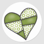 Digital Padded Patchwork - Heart-002 Round Stickers