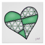 Digital Padded Patchwork - Heart-003 Posters