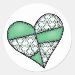 Digital Padded Patchwork - Heart-003 Round Sticker