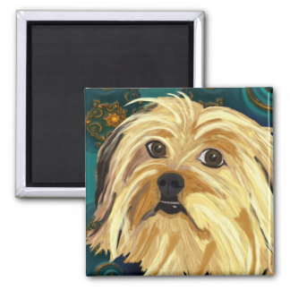 Digital Paint of a Cute Toy Dog in Golden Tones Magnet
