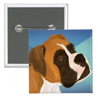 Digital Painted Brown Boxer Dog on Blue Background Button