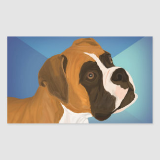 Digital Painted Brown Boxer Dog on Blue Background Rectangular Sticker