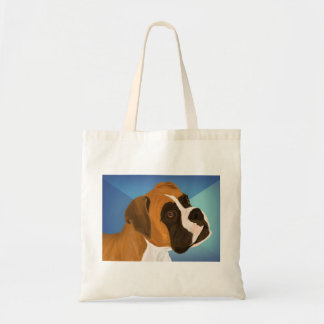 Digital Painted Brown Boxer Dog on Blue Background Tote Bag