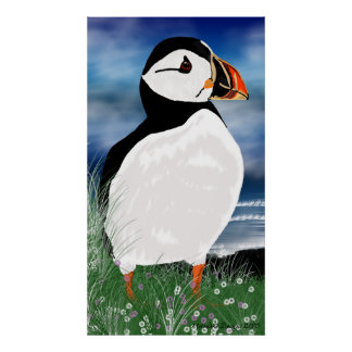 Digital Painted Puffin - Northumberland Puffin Poster