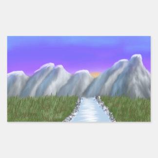 Digital Painting_Mountains w/ purple sky Rectangular Sticker