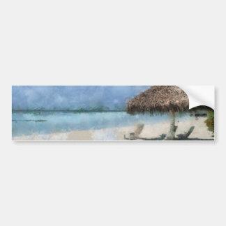 Digital Painting of Maldives Beach Hut Bumper Sticker