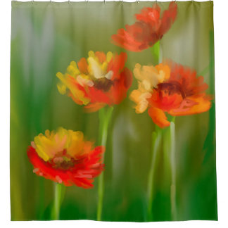 Digital Painting - Red Poppies Shower Curtain