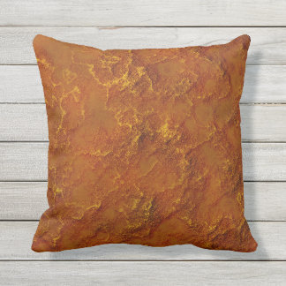 Digital Pitted Copper Moon Rock Texture Throw Pillow