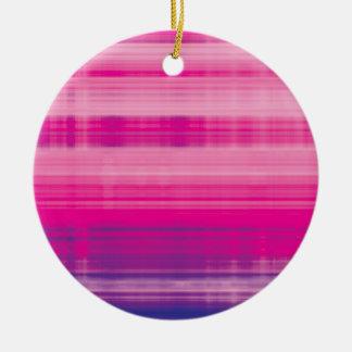 Digital Plaid Pink Purple Pattern Ceramic Ornament