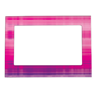 Digital Plaid Pink Purple Pattern Magnetic Picture Frame