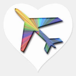 digital plane heart sticker