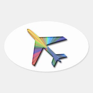 digital plane oval sticker