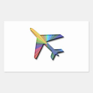 digital plane rectangular sticker