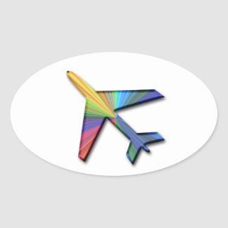 digital plane oval sticker