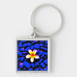 Digital Plumeria Painting Silver-Colored Square Keychain