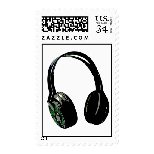 Digital Pop Art Headphone Stamp