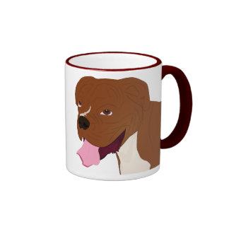 Digital Portrait of a Boxer Dog Smiling Ringer Mug