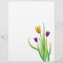 Digital Purple and Yellow Tulips Flowers