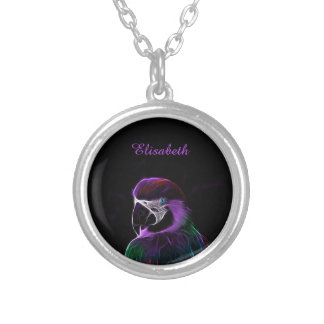 Digital purple parrot fractal name silver plated necklace