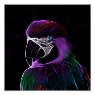 Digital purple parrot fractal poster