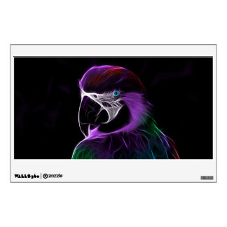 Digital purple parrot fractal wall decal