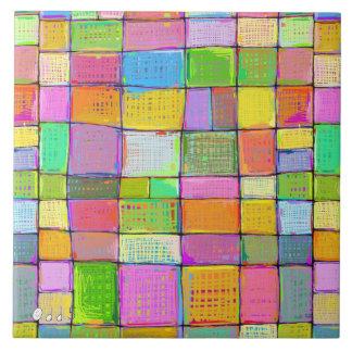 Digital quilt colorful modern art painting unique ceramic tile